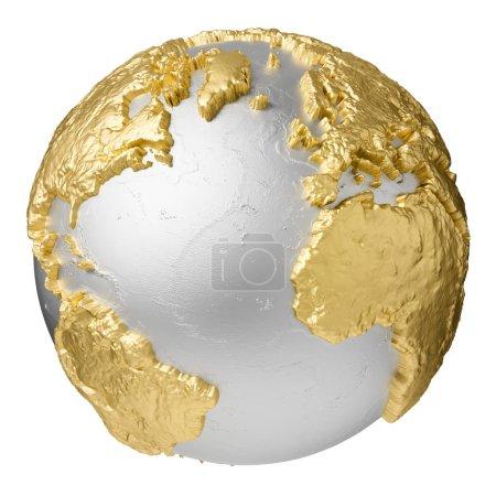 Photo pour Or, globe d'argent sans eau. Océan Atlantique, Europe, Afrique, Amérique du Nord et du Sud. rendu 3d isolé sur fond blanc. Éléments de cette image fournis par la NASA - image libre de droit