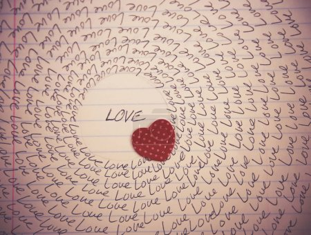 word love written on a lined piece of paper