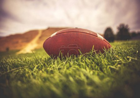 brown american football lying on green grass in a field with a hill and trees in the background toned with a retro vintage instagram filter app or action effect