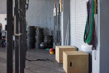 empty gym with crossfit equipment