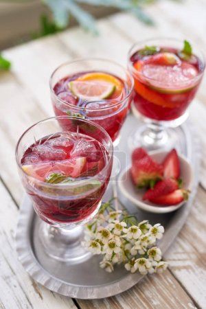 tray with refreshing cold cocktails, wine sangria drinks for spring summer party