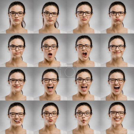 Multiple portraits of woman with different expressions