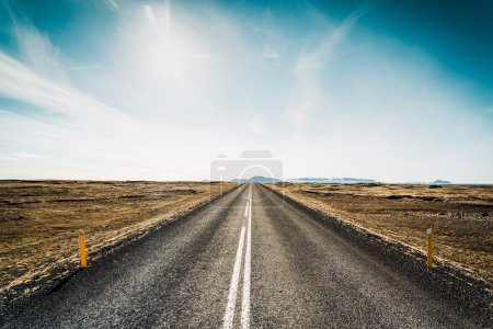 Endless asphalt road between meadow
