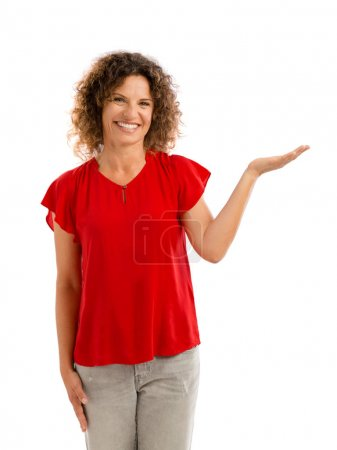 Happy woman showing something