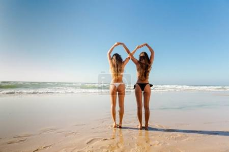 Beautiful girls on beach