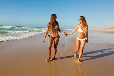 Beautiful girls in the beach