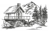 house in mountain landscape hand drawn vector illustration realistic sketch