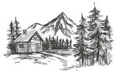 house in mountain landscape hand drawn vector illustration sketch