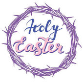 crown of thorns easter religious symbol of Christianity hand drawn greetings logo vector illustration