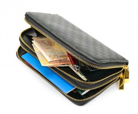 wallet with documents and money