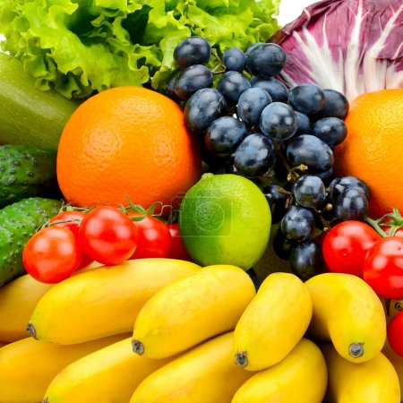 Photo for Collection fresh fruits and vegetables. Natural background. - Royalty Free Image