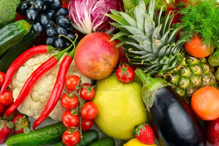 Photo for Assortment fresh fruits and vegetables. Healthy background. - Royalty Free Image