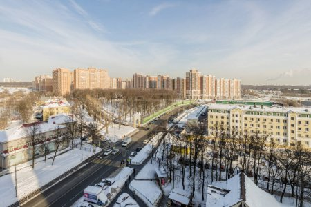 New apartment buildings in Moscow in winter