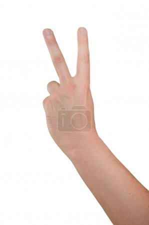 Photo for Hand of man isolated on white background, fingers showing gesture two thumbs up - Royalty Free Image