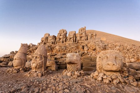 Toppled heads of the gods on East terrace at the top of Nemrut d