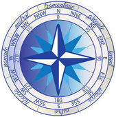 Wind rose with the orientation of the cardinal directions: North East South and West their intermediate points and the winds