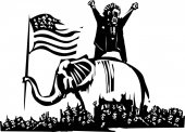Woodcut style expressionist image of flag waving elephant and angry man over crowd