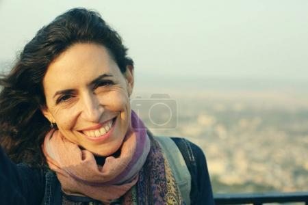Photo for Portrait of beautiful 40 years old woman outdoors - Royalty Free Image