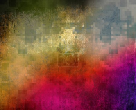 Abstract paint gradient with square grid added