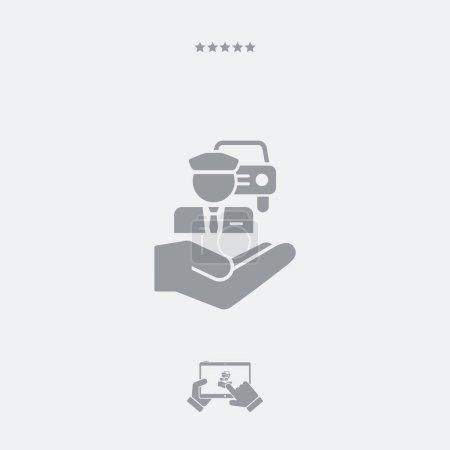 Illustration pour Service de chauffeur - Icône minimale - image libre de droit