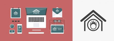 Vector illustration of single isolated danger home icon
