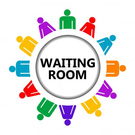 Waiting room sign with group of people