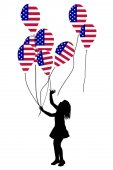 Girl silhouette with USA patriotic balloons