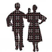 Folklore dancers in patterned ethnic motifs