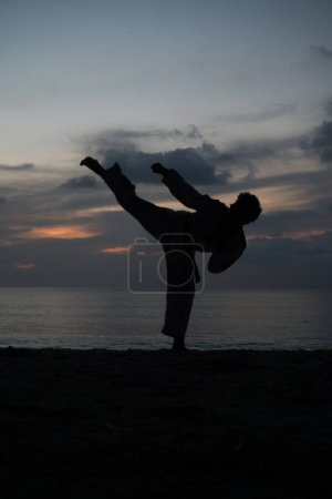 Silhouette of martial arts man training taekwondo