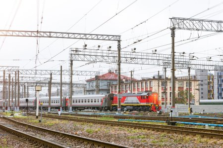 Train with railcars rzd on rails