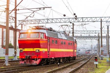 Locomotiv on railroad tracks, Russia