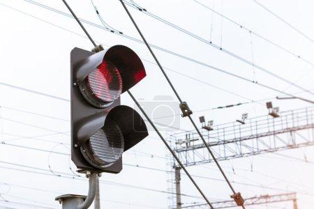 Railway semaphore shines red