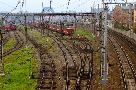 Locomotives RZD on railroad tracks, Russian Railways