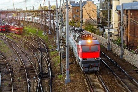 Locomotives on railroad tracks, Russia