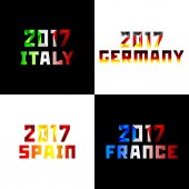 2017 Numerals of new year 20-17 in style of polygons is painted colors of national flags of European countries Italy Germany Spain France Vector clipart fully editable and infinitely scalable