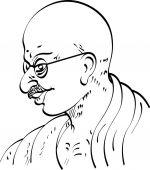 Calligraphic Mahatma Gandhi Ji Political And Spiritual Leader O