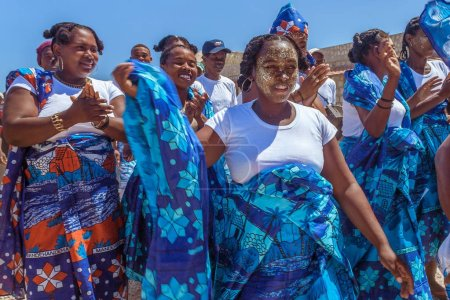 Photo for Antsanitia, Madagascar, September 27, 2016: Malagasy people during a ceremony with their traditional outfits in Antsanitia, Western Madagascar - Royalty Free Image