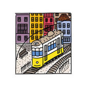 Vector illustration of the street drawn in sketch style Quiet street in Lisbon with yellow tram and sketched houses Postcard template