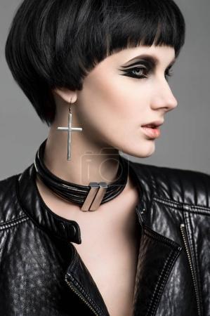 Woman with modern haircut