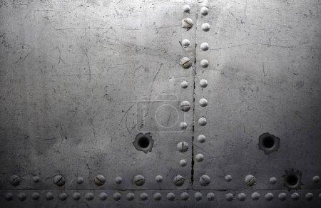 Photo pour Texture en métal ancien avec des rivets en acier fond - image libre de droit