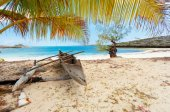 abandoned boat in sandy beach in madagascar