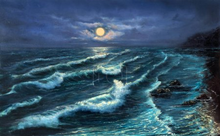 Photo for Original oil painting showing  ocean or sea,shore or beach at night on canvas.Night landscape with full moon. Modern Impressionism, modernism,marinis - Royalty Free Image