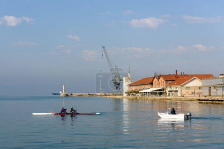 Water sports and rowing training on Aegean Sea, Thessaloniki, Greece