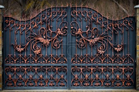 Photo for Magnificent wrought-iron gates, ornamental forging, forged elements close-up. - Royalty Free Image