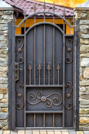 wrought-iron gates, ornamental forging, forged elements close-u