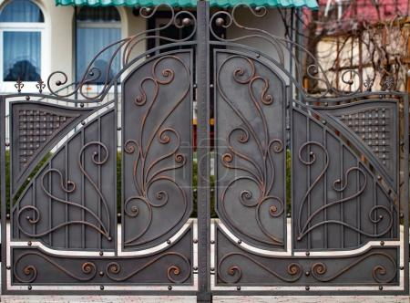 decorative parts of metal gates, elements of hand forging