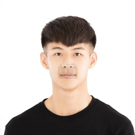closeup asian young man face portrait