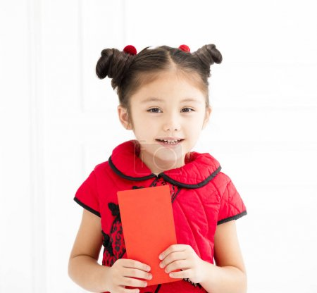 Photo for Happy chinese new year. little girls holding red envelop - Royalty Free Image