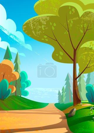 Illustration pour Illustration vectorielle d'un beau paysage vert avec une route vers les montagnes - image libre de droit