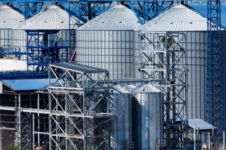 Grain elevator at industrial port